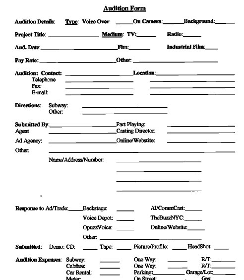 Audition Form  WowcircleTk